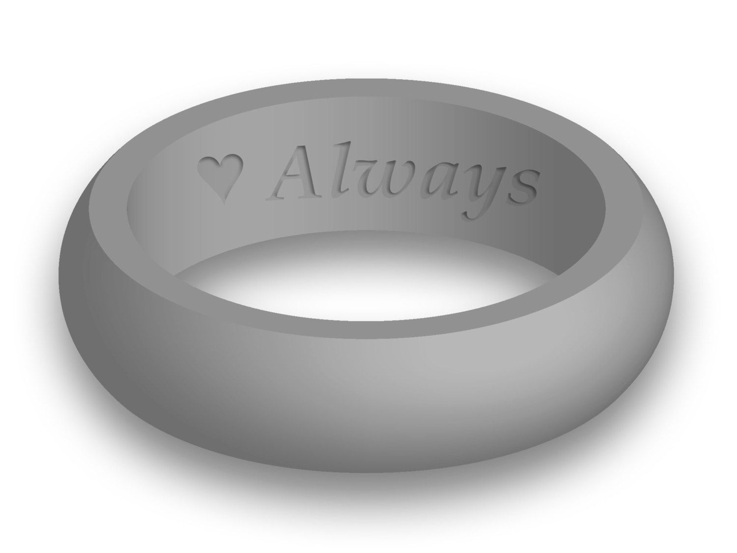 Custom Engraved Womens Silicone Wedding Band Ring Personalized