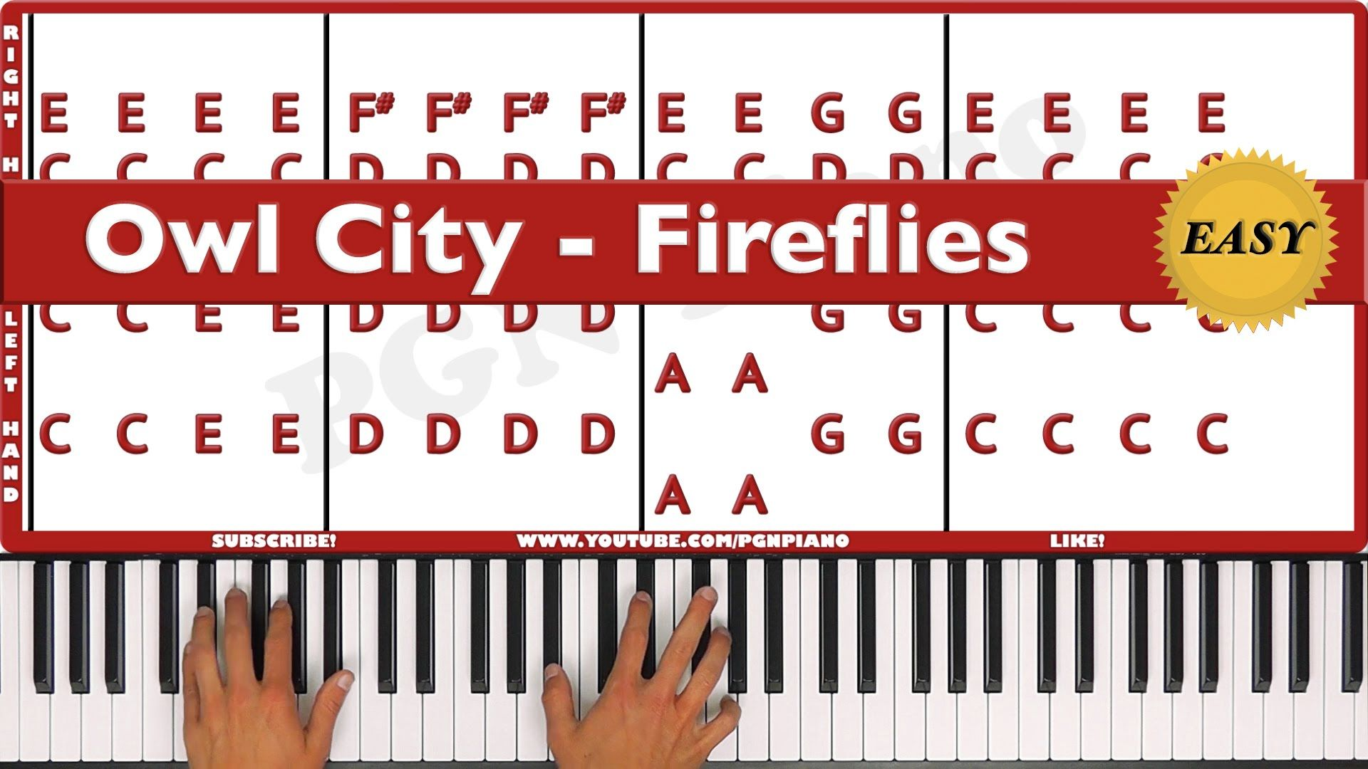 EASY How To Play Fireflies Owl City Piano Tutorial Lesson PGN Piano