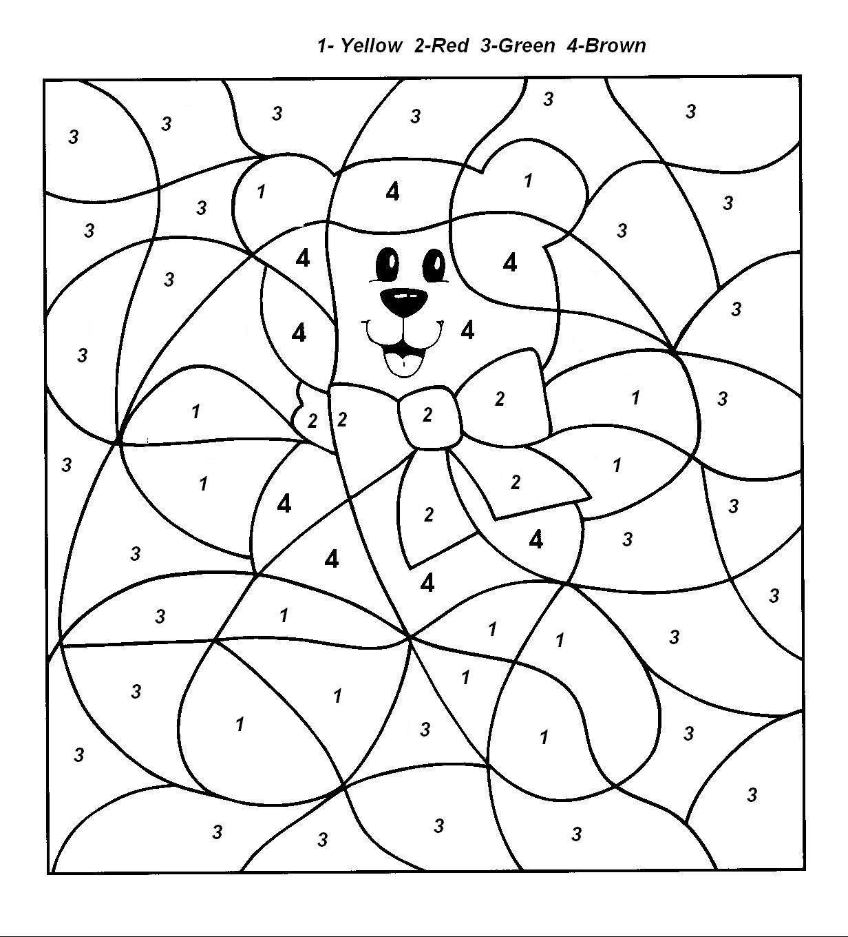 The number four colouring pages page 3 - Color By Number Coloring Pages For Kids 92