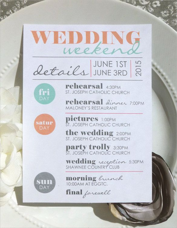 Wedding Itinerary Template - 11 Free Word, PDF Documents Download - free word menu template