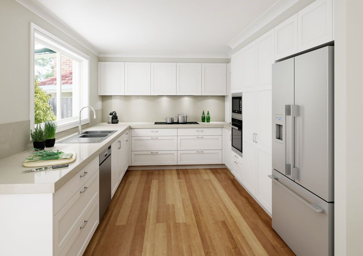 A modern take on the shaker door profile kitchen in all white ...