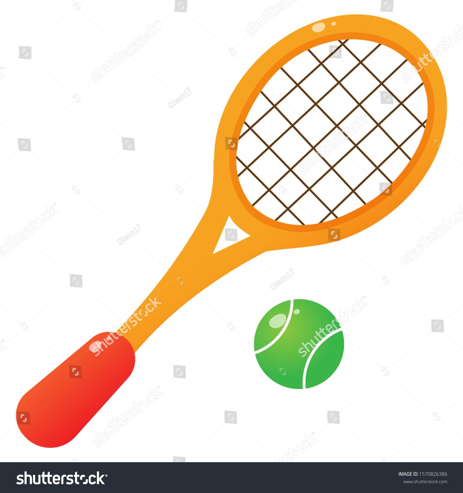 Color Image Of Cartoon Tennis Racket With Ball On White Background Sport Vector Illustration Ad Ad Tennis Racket Cartoon Color