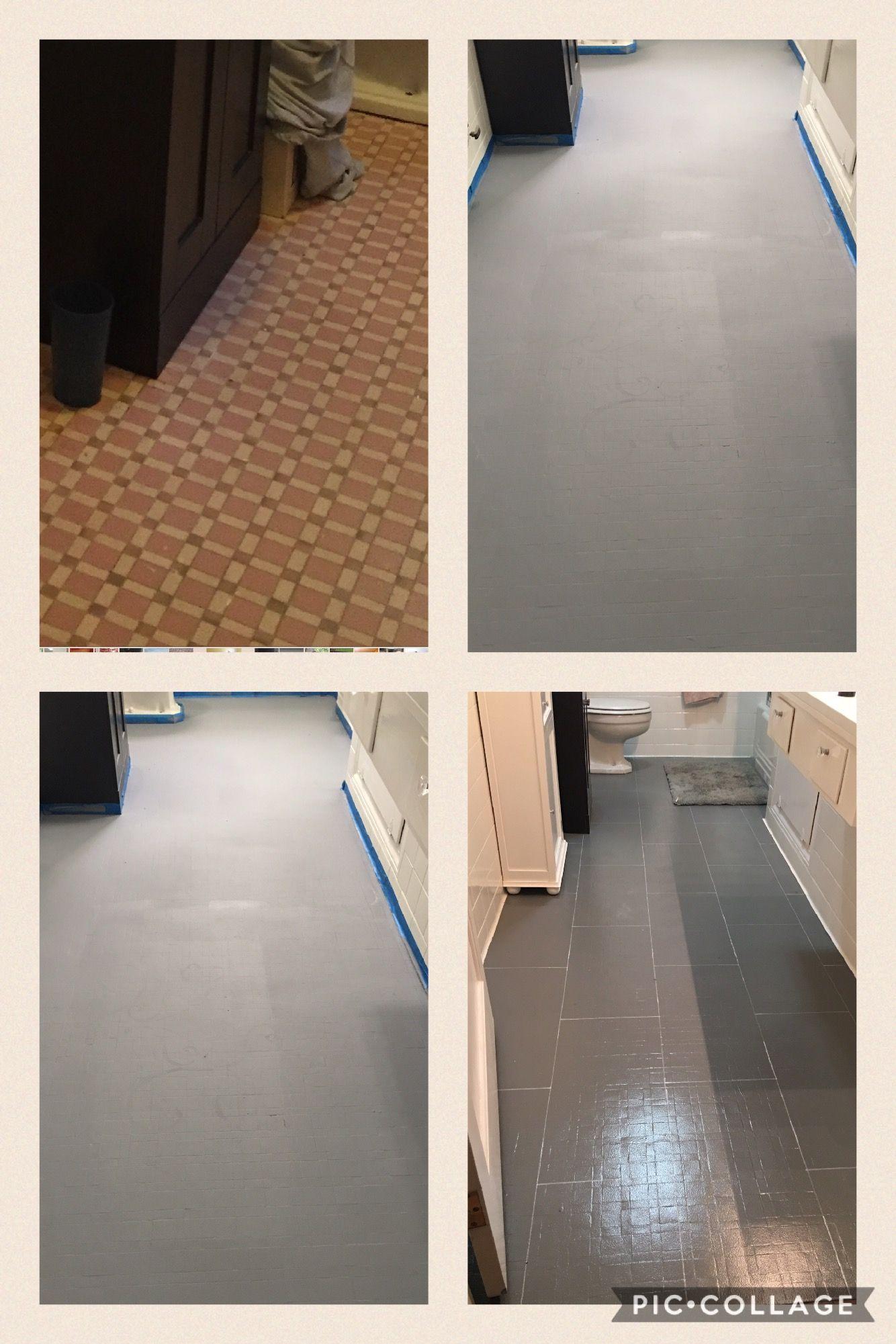 Painted Tile Floor Tinted Zinzser Primer 1coat 2 Coats Valspar Paint Sharpie Marker For Faux Lines Of Poly