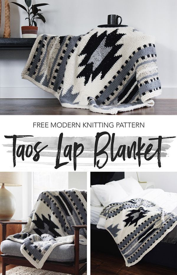 Photo of Free Knitting Pattern for Taos Lap Blanket – Afghan knit with a southwestern gra…