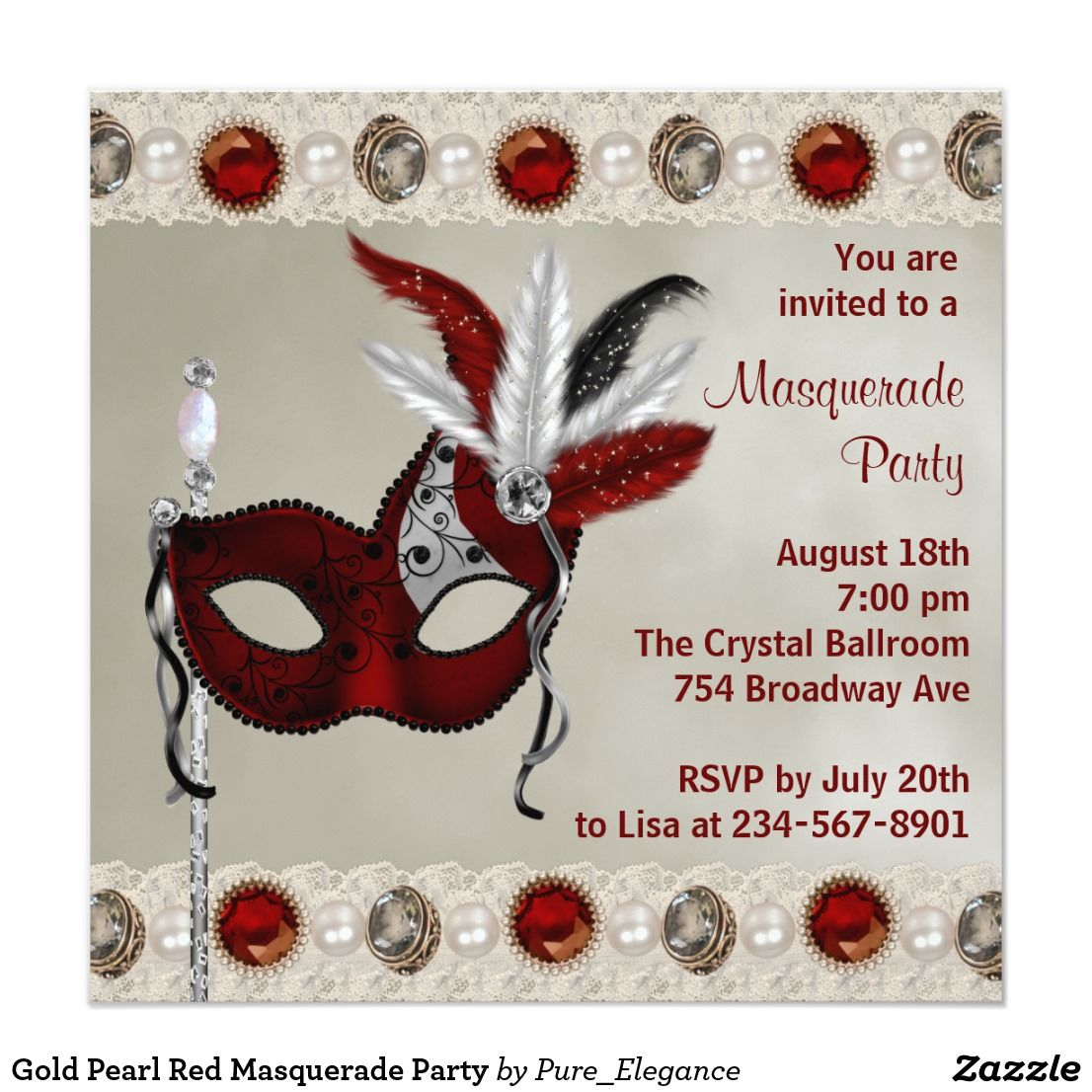 Gold Pearl Red Masquerade Party Card | Masquerade party invitations ...