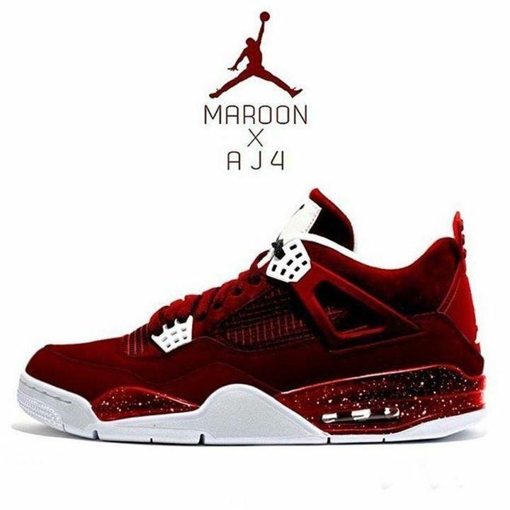 cheap for discount d4da2 09e35 Maroon Air Jordan 4 | FOOTWEAR | Shoes sneakers, Sneakers ...