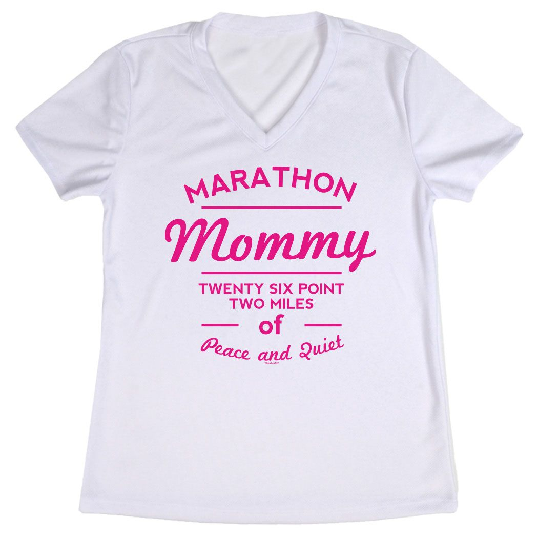 Women's Customized White Short Sleeve Tech Tee Marathon Mommy
