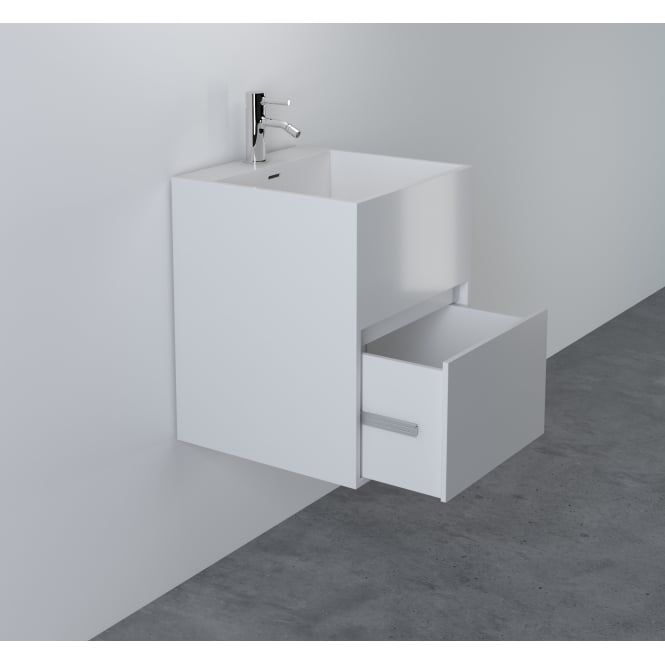 400 Black Wall Hung Modern Cloakroom Bathroom Basin Sink Vanity Cabinet Unit