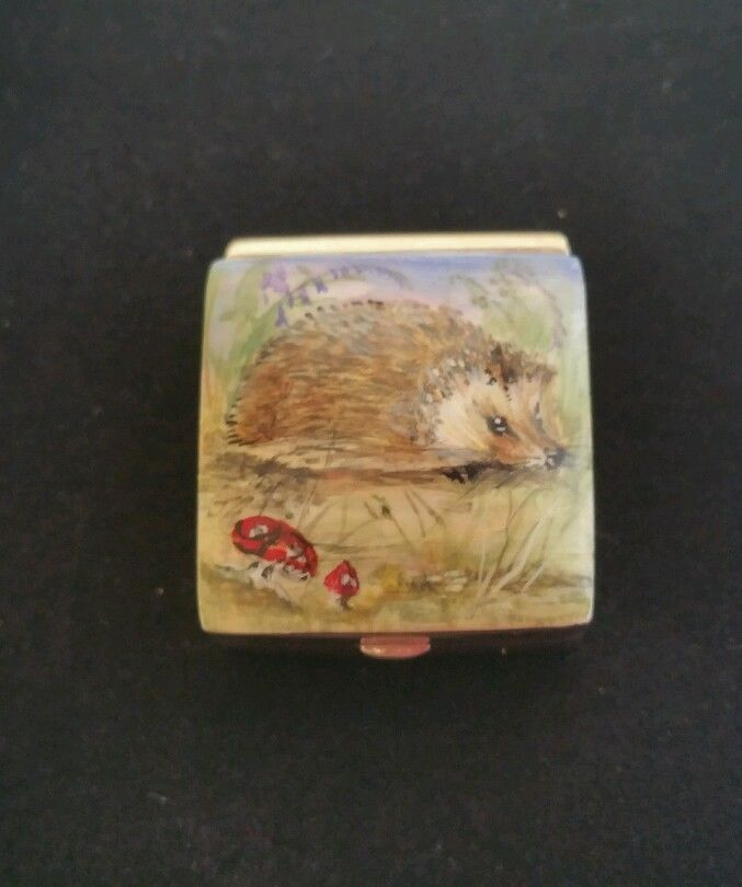 Solid Silver Hallmarked Hand Enamelled Hedgehog Box    Collectables