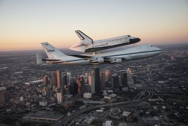 Endeavour Ferried By Sca Over Downtown Houston Skyline