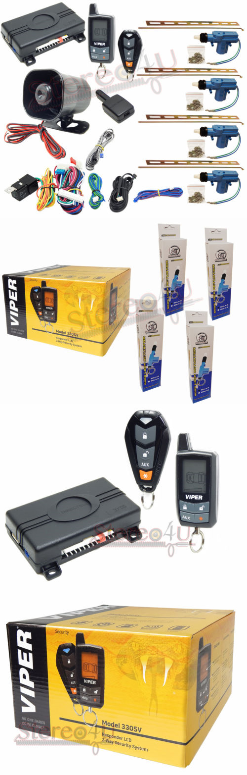 Car Alarms And Security Systems Viper 3305v 2 Way Lcd Pager Complete Car Alarm With 4 Door Lock Actuator Buy It Now Only 159 99 Car Alarm Alarm Car