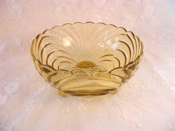Cambridge Caprice Yellow Candy Dish  Depression Glass