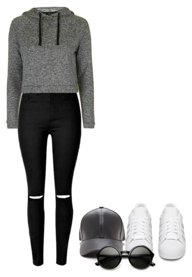 """Sporty !"" by creating-outfits ❤ liked on Polyvore featuring adidas Originals and Topshop"