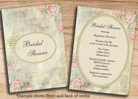 Bridal shower invites shabby chic roses pearls lace diy printable bridal shower invites shabby chic roses pearls lace diy printable double custom personalized jpeg templates stopboris Gallery