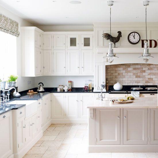 Kitchen Tiles Black Worktop white kitchens | bricks, kitchens and timeless kitchen