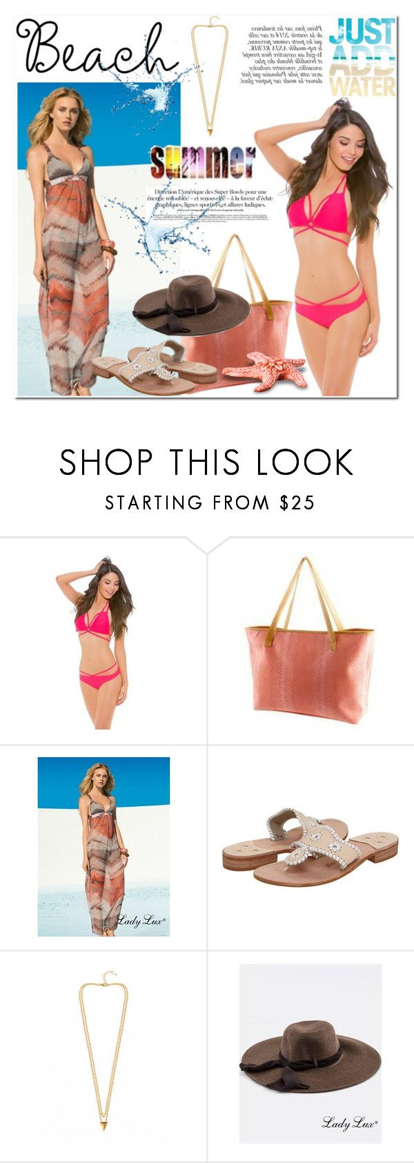 """Summer and beach with LadyLuxSwimwear"" by helenevlacho ❤ liked on Polyvore featuring Jack Rogers and Anja"