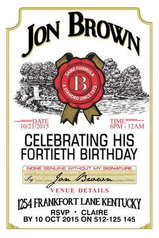 Jim Beam Birthday Digital Printable Invitation Template Jack