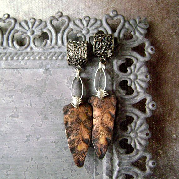 Mixed Metal Assemblage Earrings With Rolling Mill Textured And Oxidized Metal Sterling Copper Aluminum Handcrafted Earrings Anvilartifacts Most Comfortable Jeans Copper Sheets Raw Color
