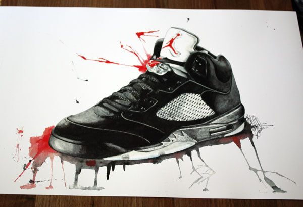 Nike Air Jordan Inspired Retro V 5s Print of Original Watercolor and Ink  Shoe