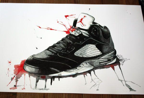 sports shoes 4f7e9 ab019 Nike Air Jordan Retro V 5s Print of Original Watercolor and Ink Shoe.   20.00, via Etsy.