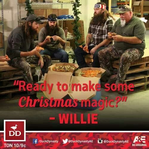 Duck Dynasty, Jase, Jep & Willie Robinson & Godwin are ready to make some Christmas magic.  Pix from A&E DD Facebook post 12-14-13.