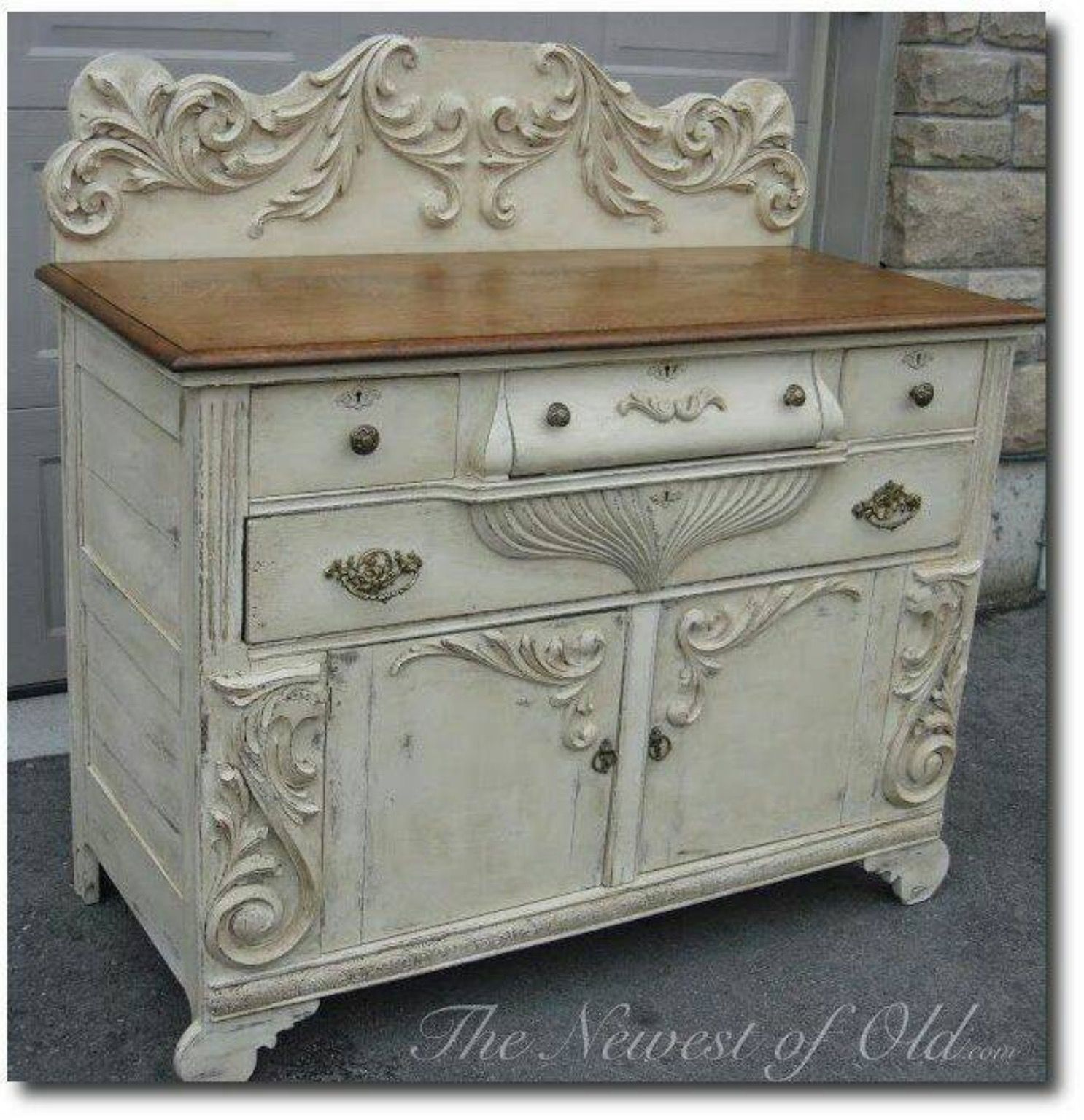 Painted Old Buffet Furniture Piece