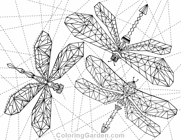 Free printable geometric dragonfly adult coloring page Download