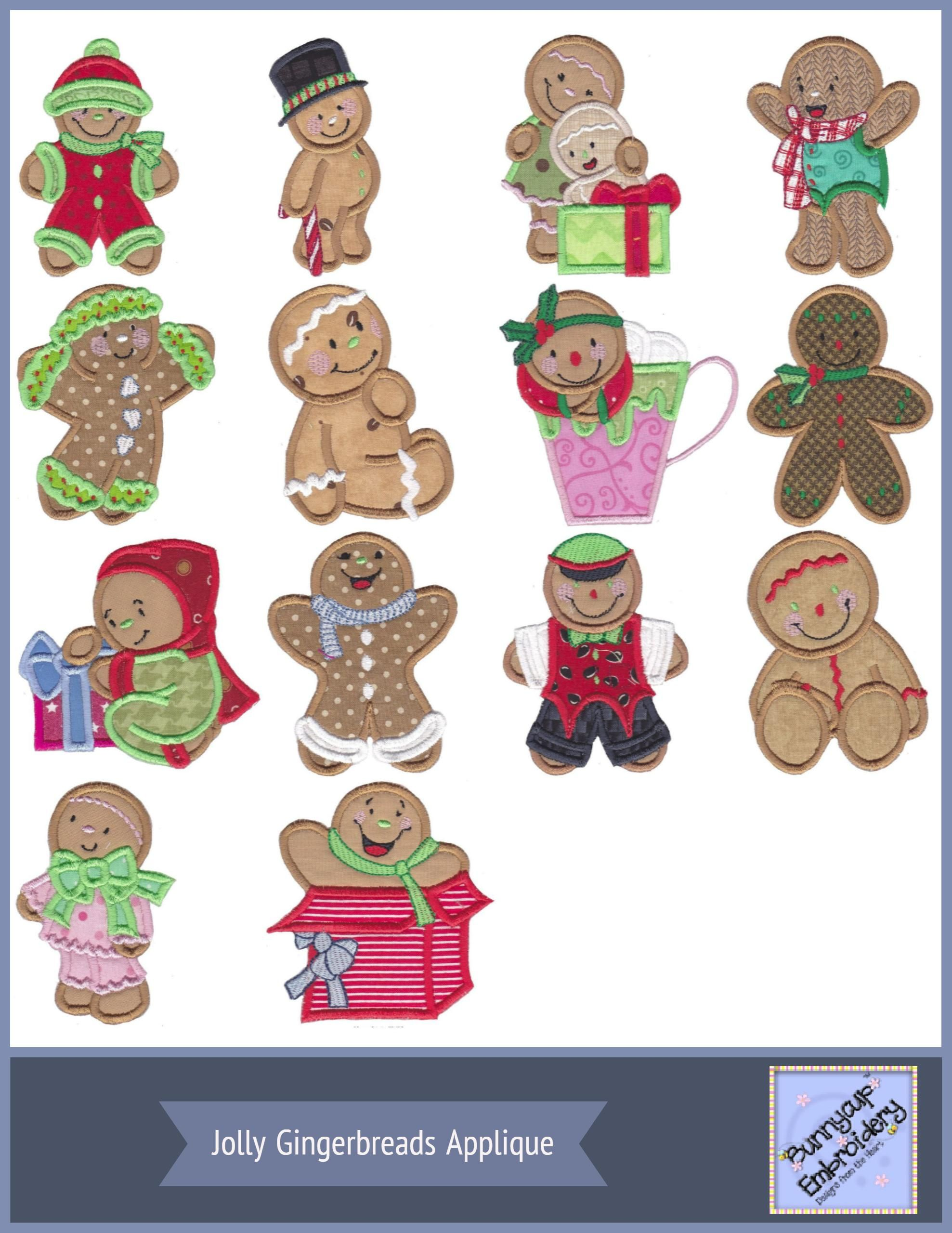 Jolly Gingerbreads Applique Machine Embroidery Designs At Bunnycup