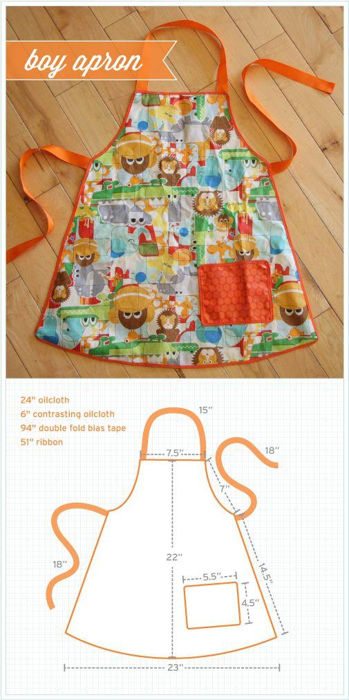 Avental infantil com molde | artesanato | Pinterest | Kinderschürze ...