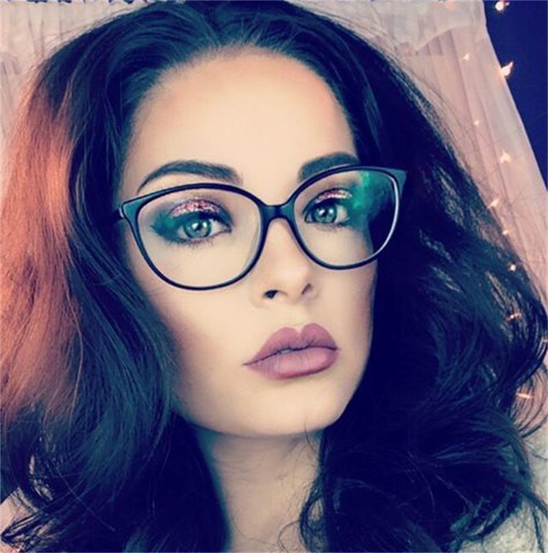 Photo of Rote Bohnen Brille Rahmen Cat Eye Brille Rahmen Klare Linse Frauen Optische Rahmen Myopia Nerd