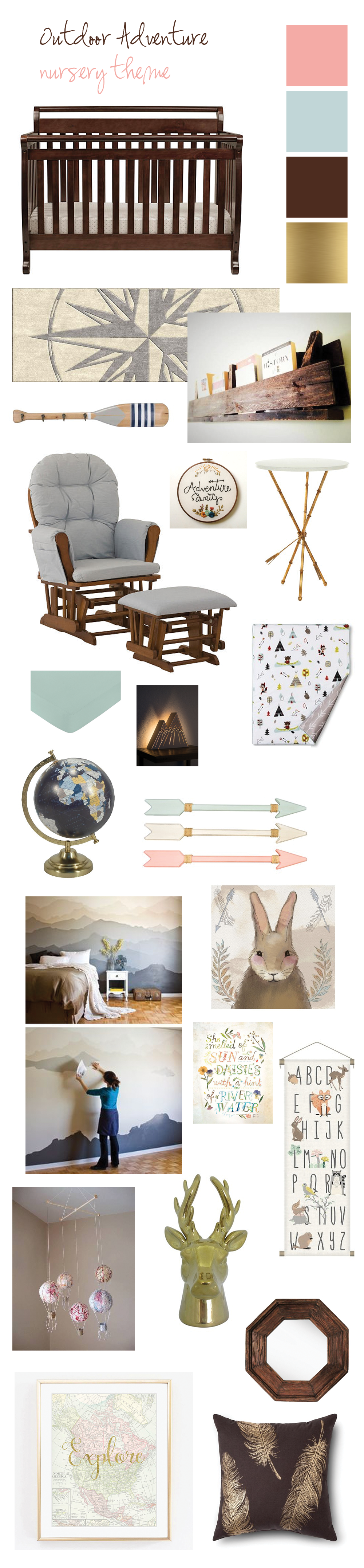 Baby Nursery Idea Outdoor Adventure Theme Mountains Woodland Creatures