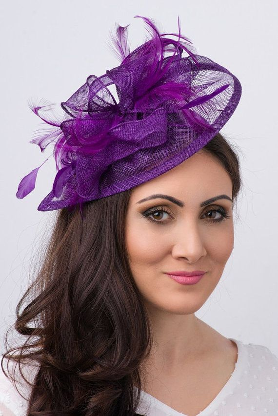 Purple Fascinator - Penny Mesh Hat Fascinator with Mesh Ribbons and Purple Feathers #fascinatorstyles