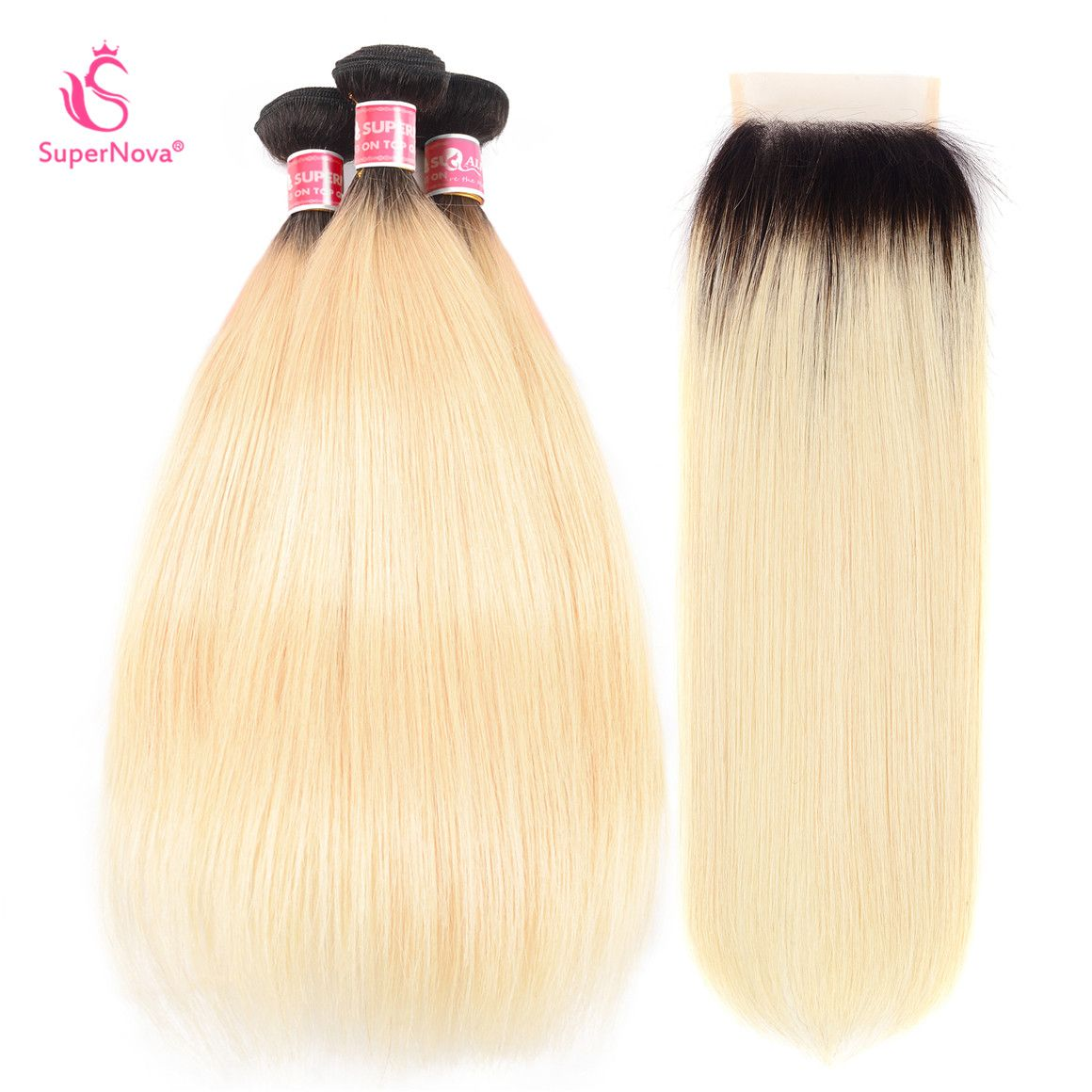 Ombre 1B 613 Hair Color Brazilian Straight Bundles With