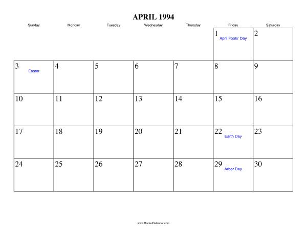 Free Printable Calendar For April 1994 View Online Or Print In Pdf