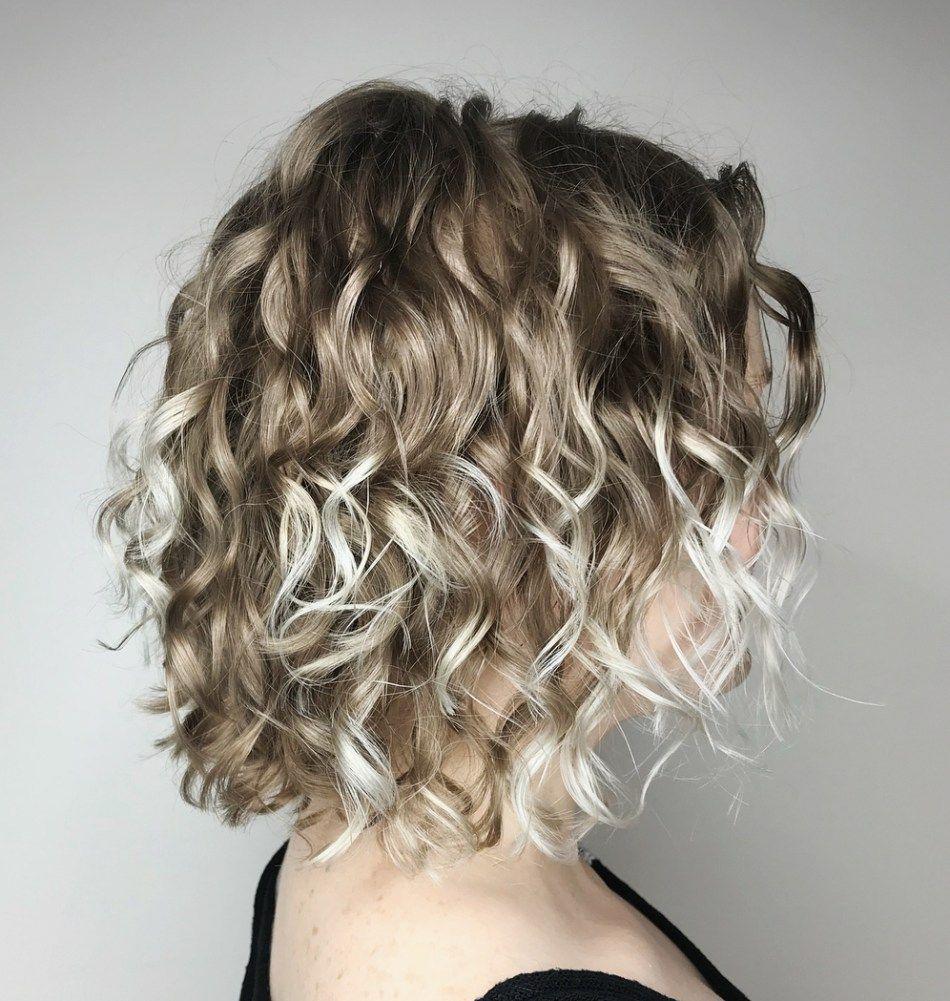 Dark Blonde Curly Bob With Platinum Highlights Thin Curly Hair Curly Hair Styles Blonde Curly Bob