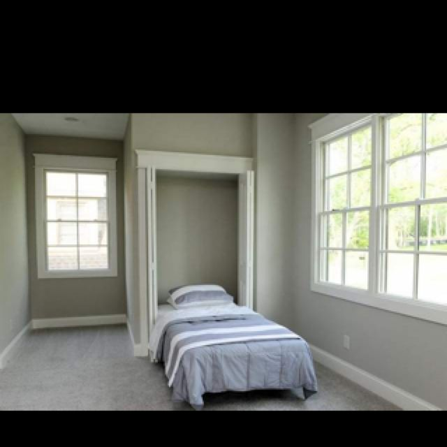Murphy bed- maybe a more space efficient idea then the built in. We could put one on sw wall and the se wall.