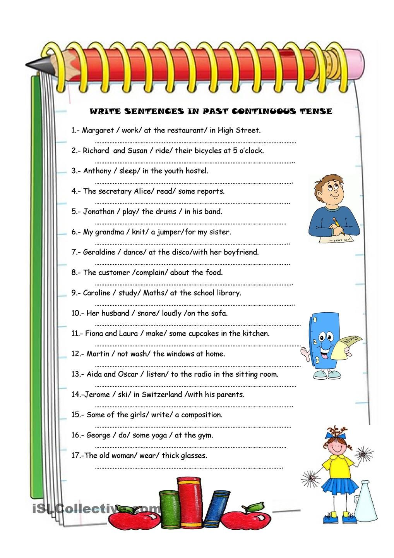 Past Continuous Worksheet Past Continuous Tense Esl | Teaching ...