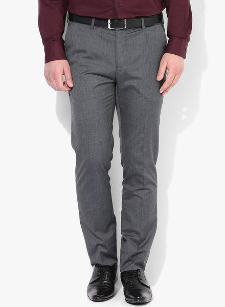 ff26b93391a Buy Van Heusen Dark Grey Solid Regular Fit Formal Trouser for Men Online  India…