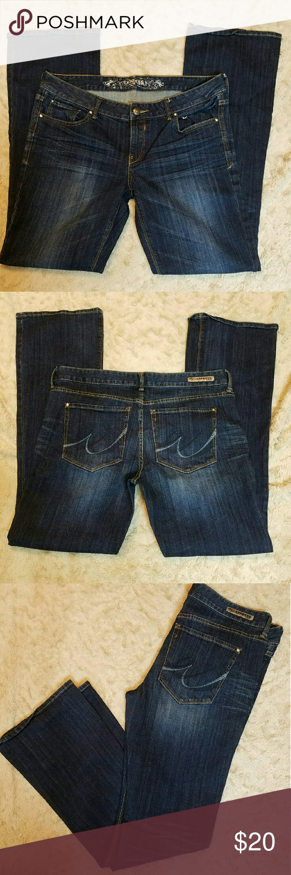 ??EXPRESS Bootcut JEANS ?? Dark blue jeans with a medium wash. These are bootcut. Express Jeans Boot Cut