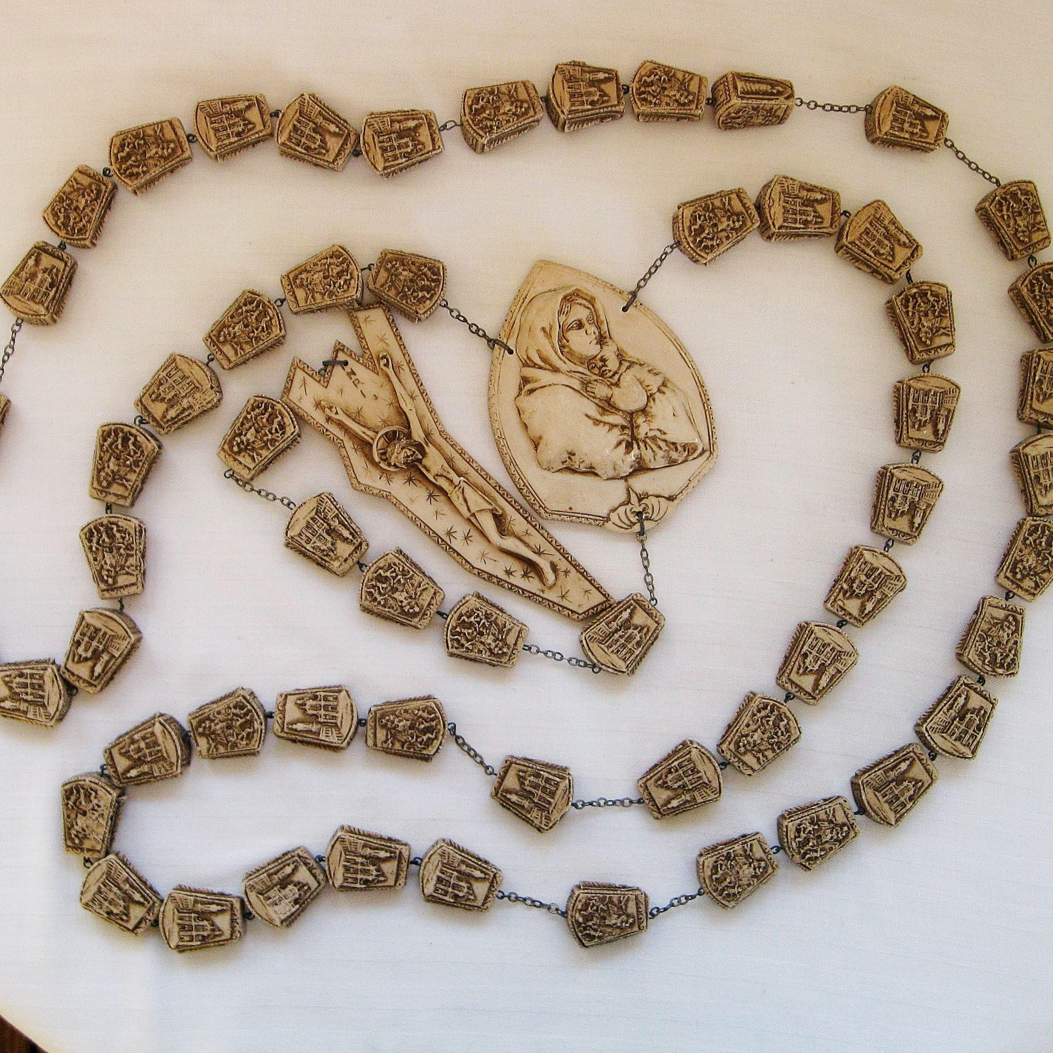 Vintage Large Italy Wall Rosary Beads This Is A Large Set