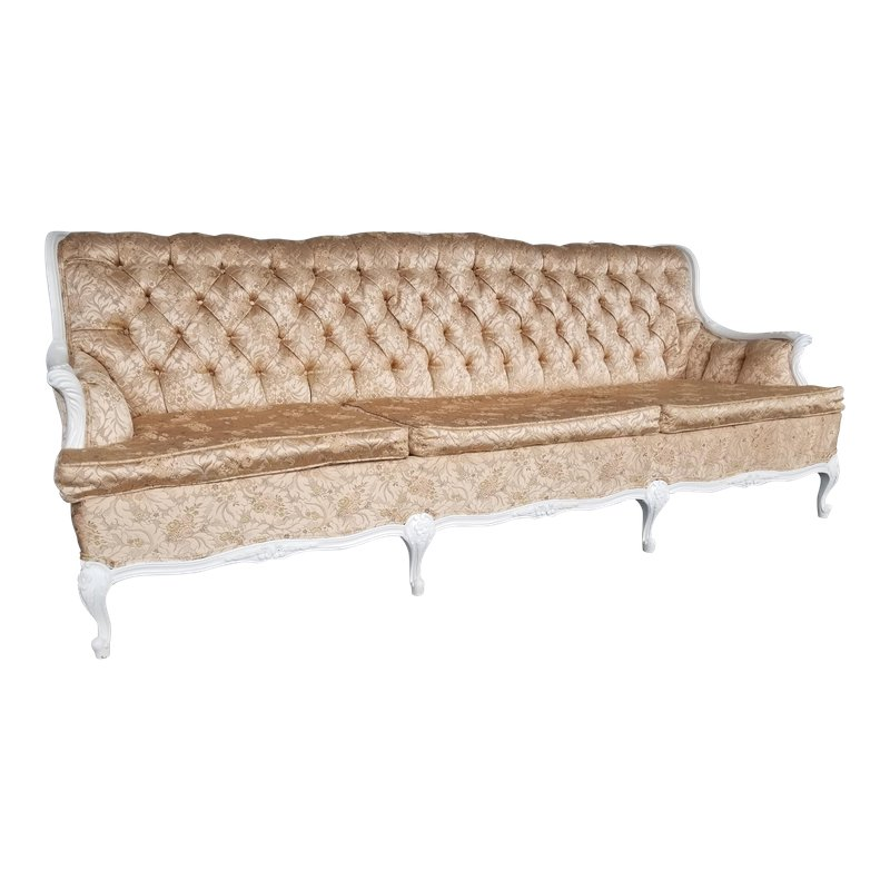 Groovy 1960S Vintage French White And Pink Brocade Sofa Products Theyellowbook Wood Chair Design Ideas Theyellowbookinfo
