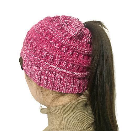 0f809f6e609 Bonjean Women Warm Hat Cc Warm Winter Knitted Chunky Soft Slouchy Beanie  High Bun Ponytail