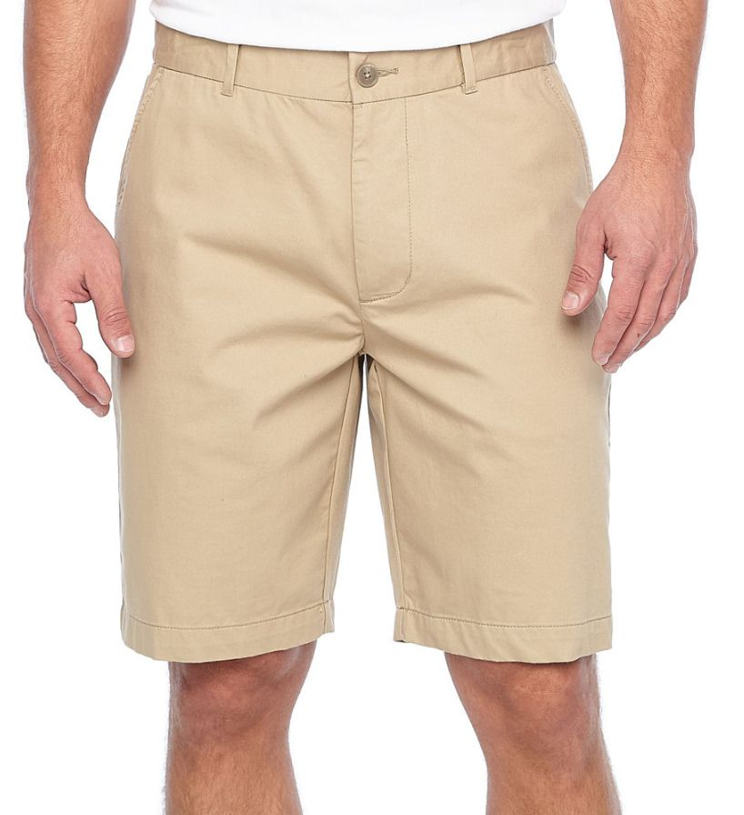 NEW Claiborne Men's Shorts Flat Front Stretch Comfort Khaki size 38  #Claiborne #FlatFront #everyday in 2020 | Stretch chinos, Chino shorts,  Chino