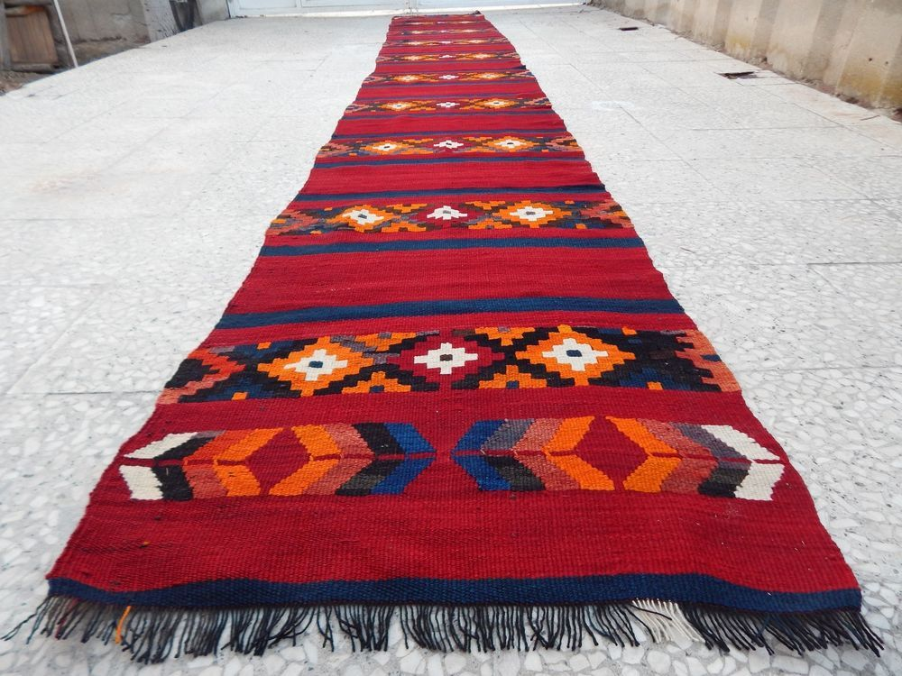 17 Foot Vintage Extra Long Handmade Wool Turkish Hall Corridor Kilim Rug Runner