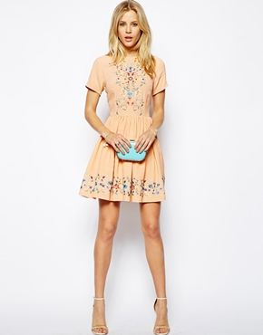 Image 4 of ASOS Premium Skater Dress With Pretty Floral Embroidery