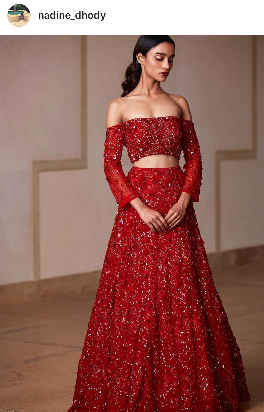 Ruby Red Off The Shoulder Lengha Indian Bridal Dress Red Bridal