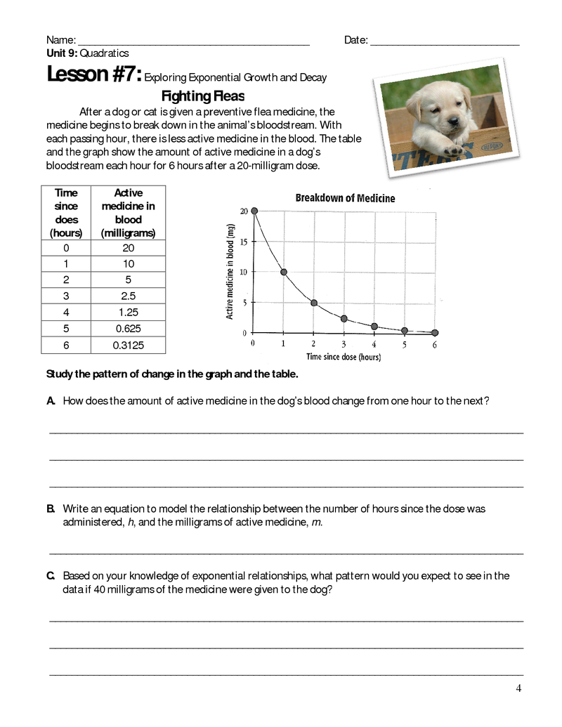 Printables Exponential Decay Worksheet free exponential growth and decay student worksheet a11c math explorations ballots