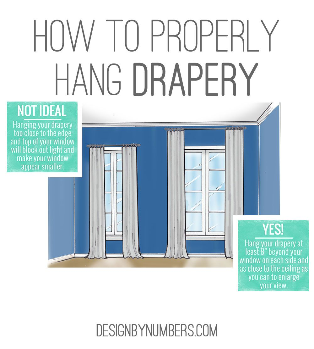 How To Hang Drapery Or Curtains Design By Numbers Hanging Curtains Design Interior Design Tips
