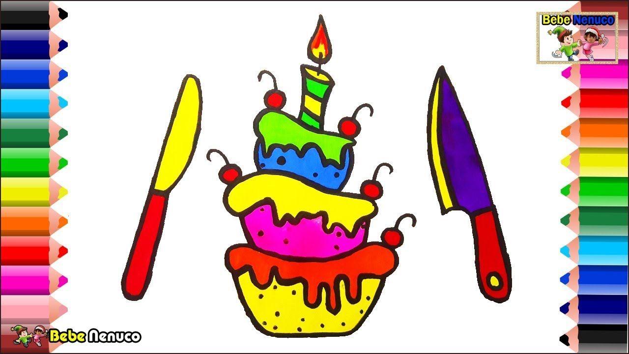 Pastel de cumpleaños para colorear - Cómo dibujar dulces para niños ...