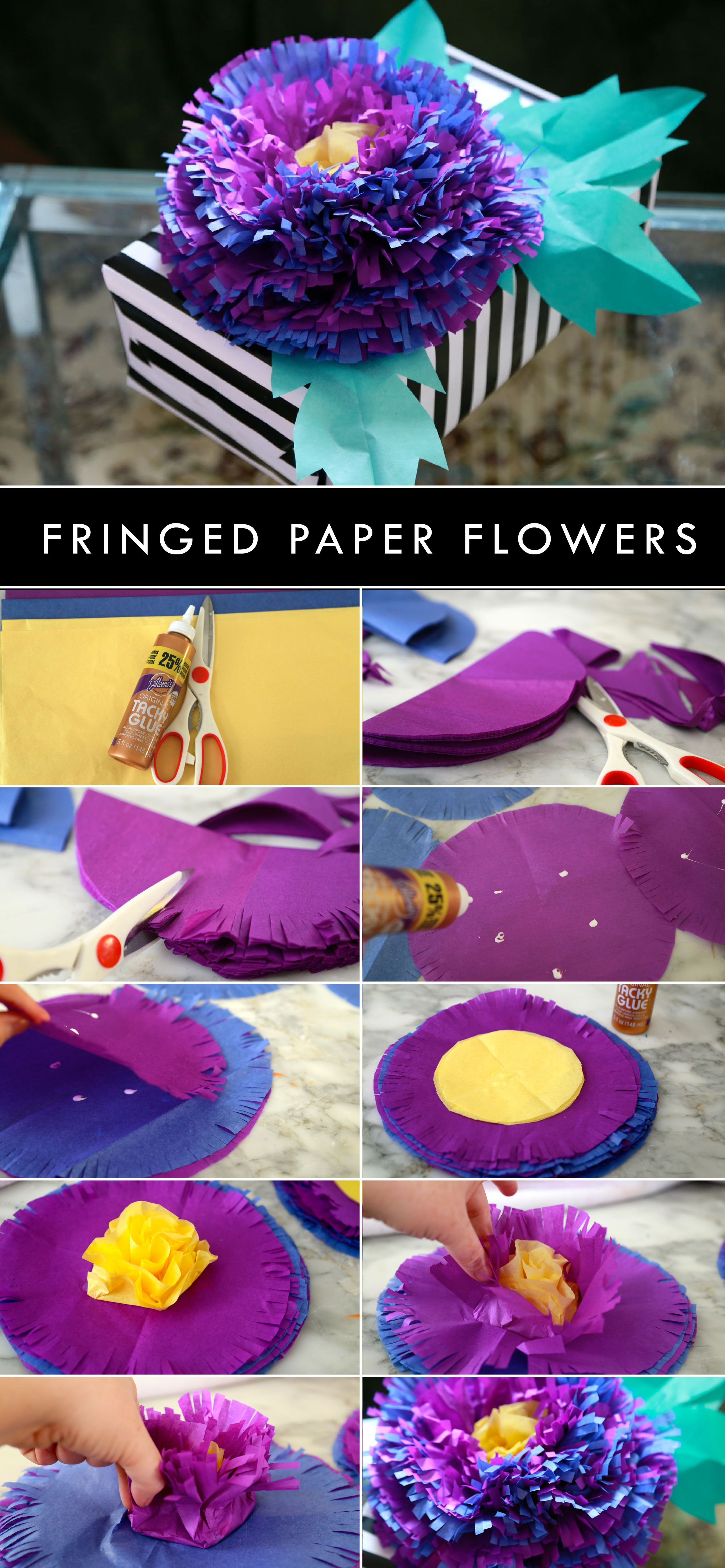 Make Pretty Flowers Using Tissue Paper And Aleenes Tacky Glue With